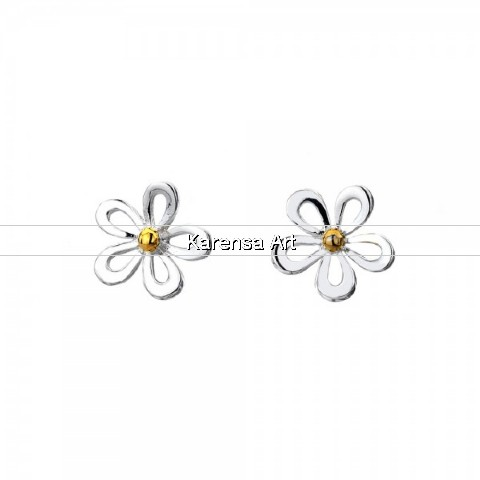 SGSDSE - Silver & Brass Daisy Stud Earrings