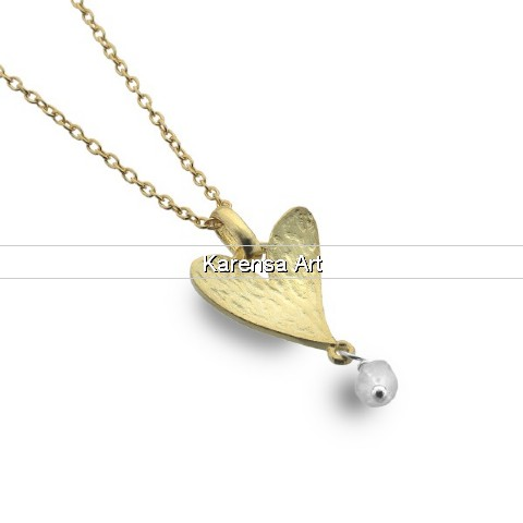SGSGHN - Gold Plated Heart Necklace with Moonstone