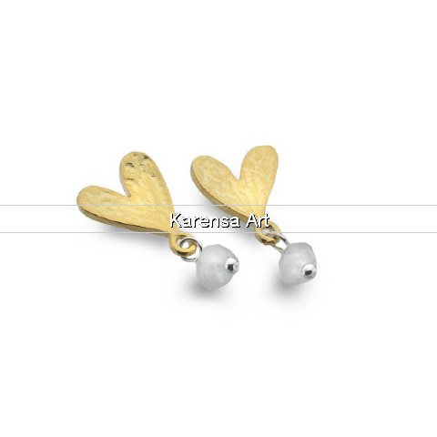 SGSGHS - Gold Plated Heart Stud Earrings with Moonstone