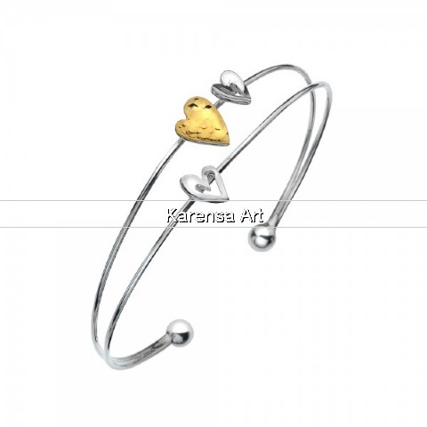 SGSHHB - Silver & Gold Plated Hammered Heart Bangle