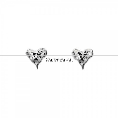 SGSHHE - Silver Hammered Heart Stud Earrings