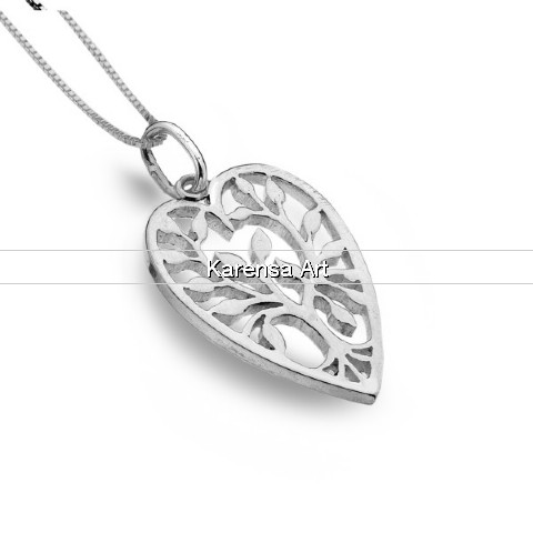 SGSHTN - Silver Heart Tree of Life Necklace