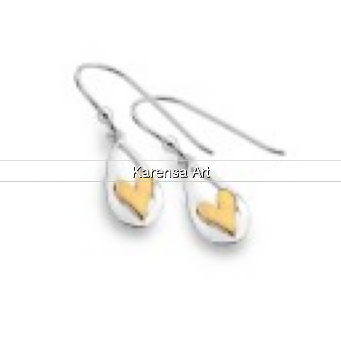 SGSLGH - Silver Drop Earrings with Gold Plated Heart