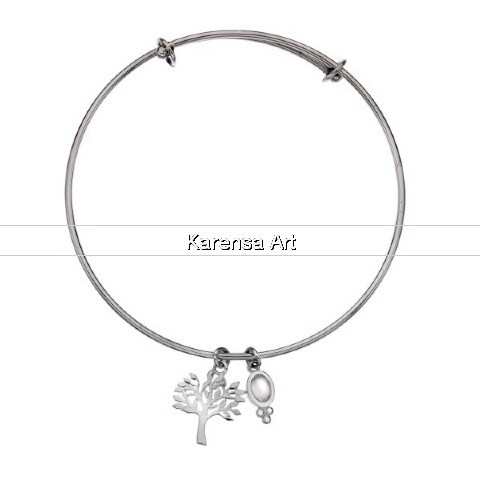 SGSTLB - Silver Tree of Life Bangle with Moonstone